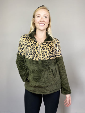 Hunter Leopard Print Sherpa Pullover Sweater
