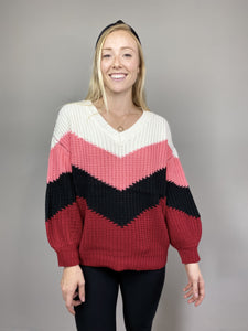 Burgundy Chevron Color-Block Sweater