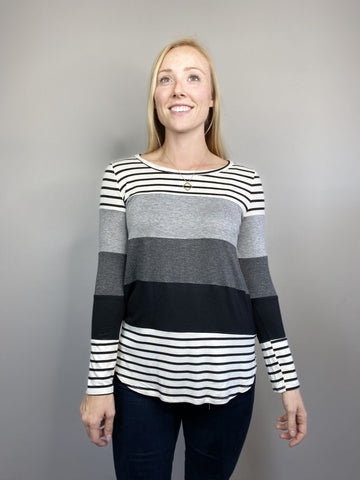 Grey Color-Block Long Sleeve Top