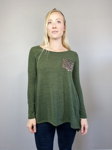 Olive Sequin Sweater