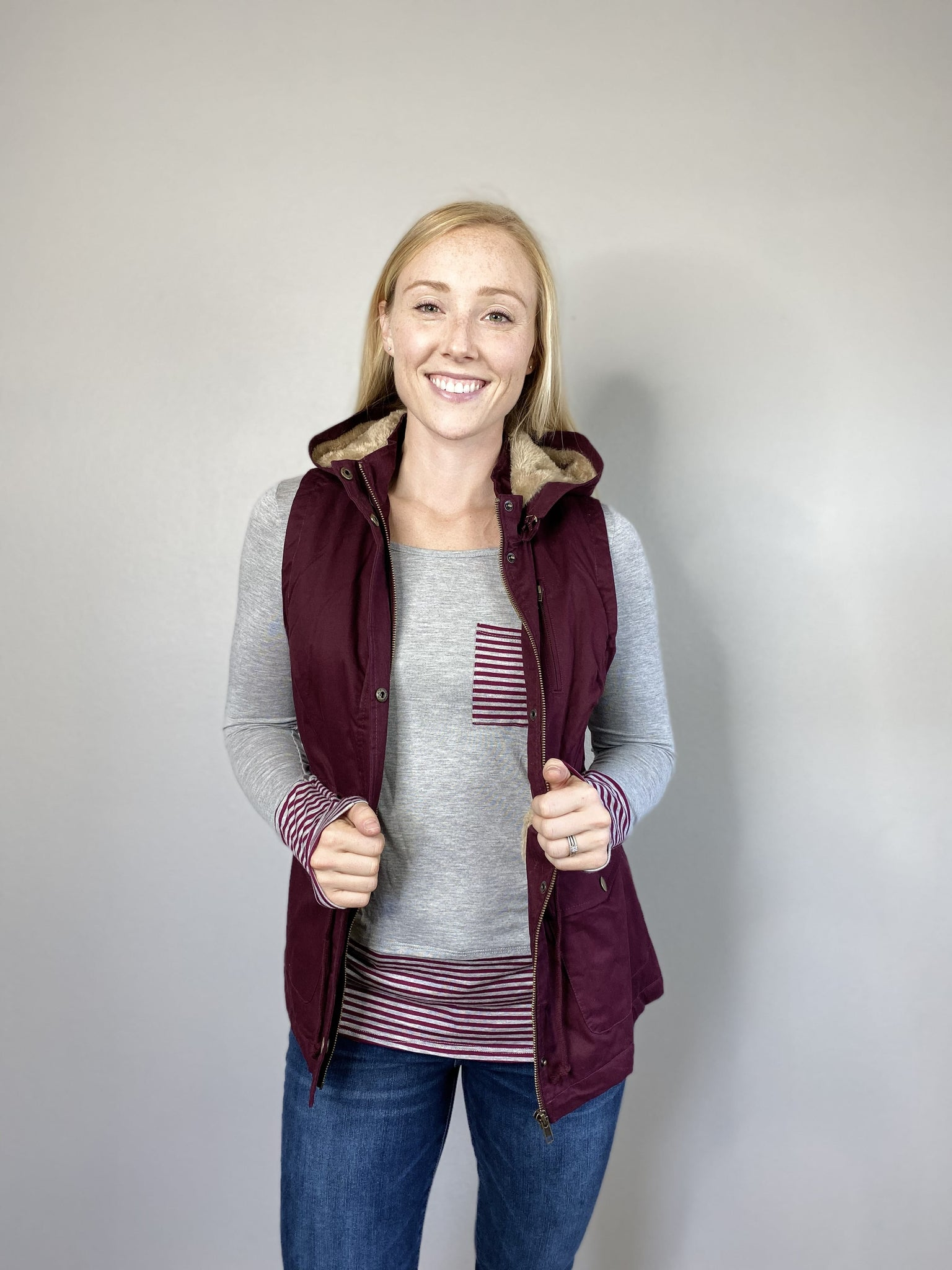 Burgundy Hooded Anorak Vest