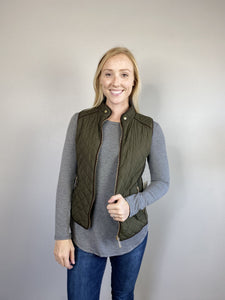 Olive Quilted Vest