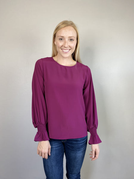 Magenta Bubble Sleeve Top