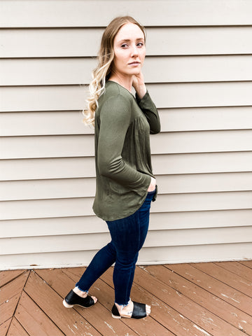 Love The Weekend Top in Olive