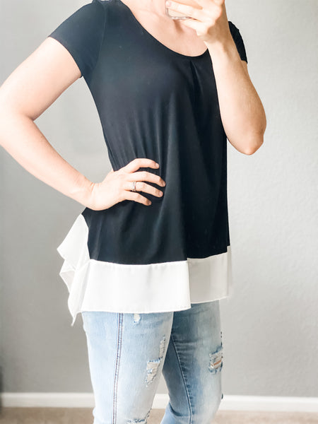 Flowy Black & White Tee