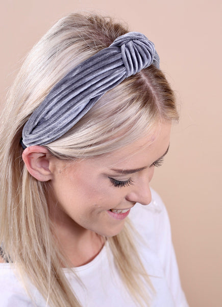 Mia Ribbed Velvet Headband Gray