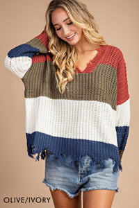Olive & Ivory Distressed Sweater