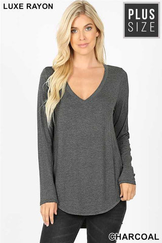 Charcoal Long Sleeve V Neck Dolphin Hem Top