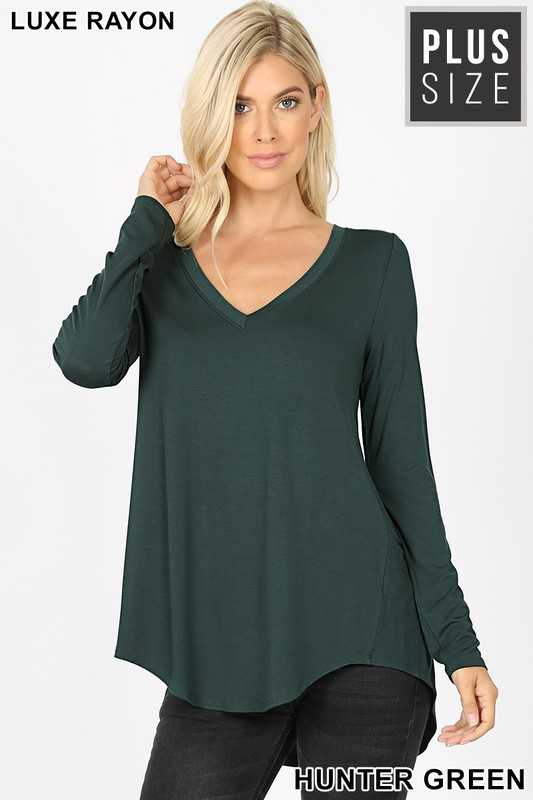 Hunter Green Long Sleeve V Neck Dolphin Hem Top
