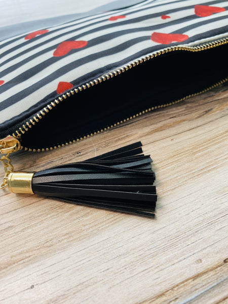 Hearts and Stripes Zip Clutch