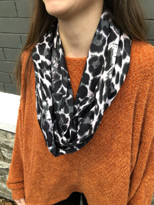 Leopard Hidden Zip Pocket Infinity Scarf