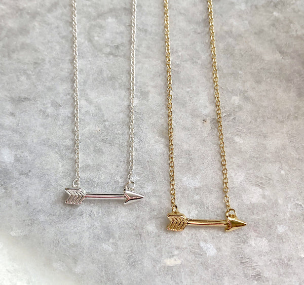 Arrow Necklace: available in silver, gold, and rose gold.