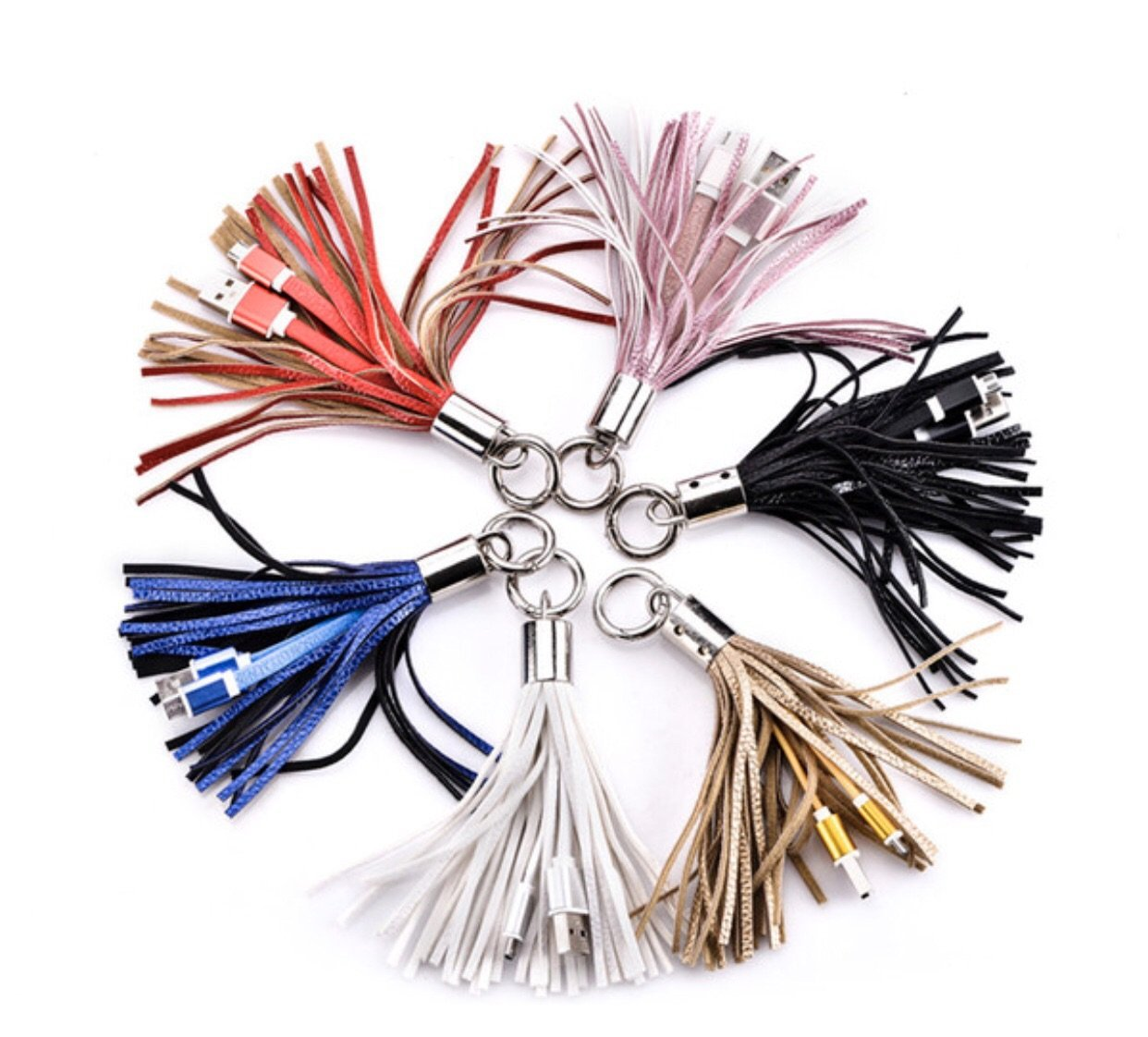 Tassel Key Chain with Charging Cable for iPhones