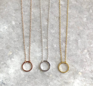 Classic Karma Necklace: available in silver, gold, and rose gold.