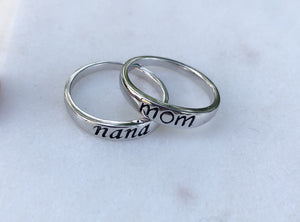 Sterling Silver Stamped Nana Ring