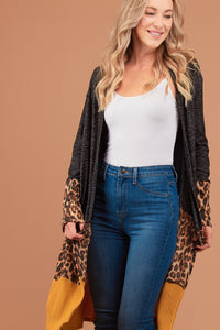 Leopard, Mustard, and Black Heathered Cardigan