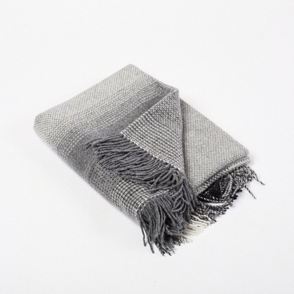 contemporary grey soft wool throw woven in Ireland by heritage weavers John Hanly