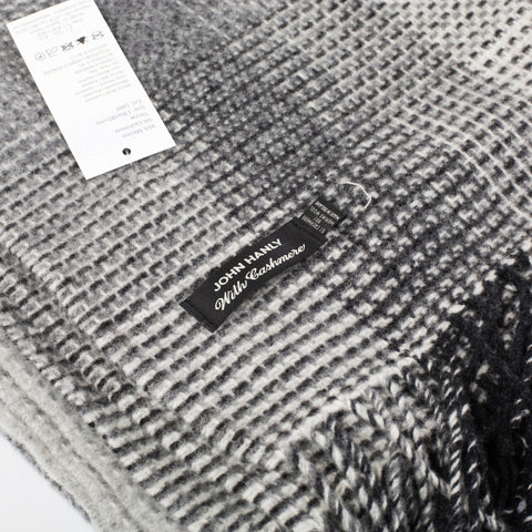 detail of neutral grey wool mix throw made in Ireland available from Irish Design Shop