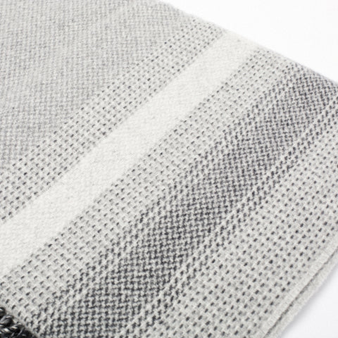 detail of contemporary neutral wool throw in a grey gradient made in Ireland by heritage weavers John Hanly
