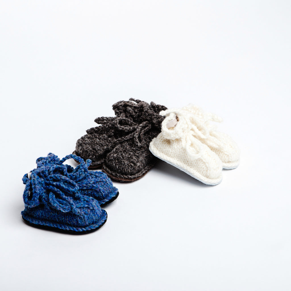 aran wool knit baby booties, handmade in Ireland, perfect newborn gift for tiny feet data-zoom=