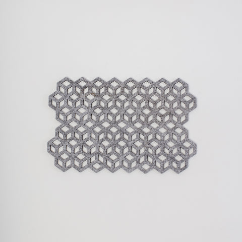 stone grey geometric placemat, laser cut felt, made by Alljoy design in Dublin