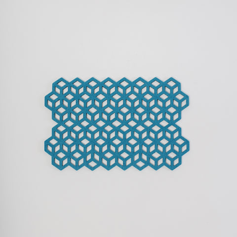 Teal, blue, green felt placemat, laser cut geometric design, made exclusively for Aras homewares in Irish Design Shop