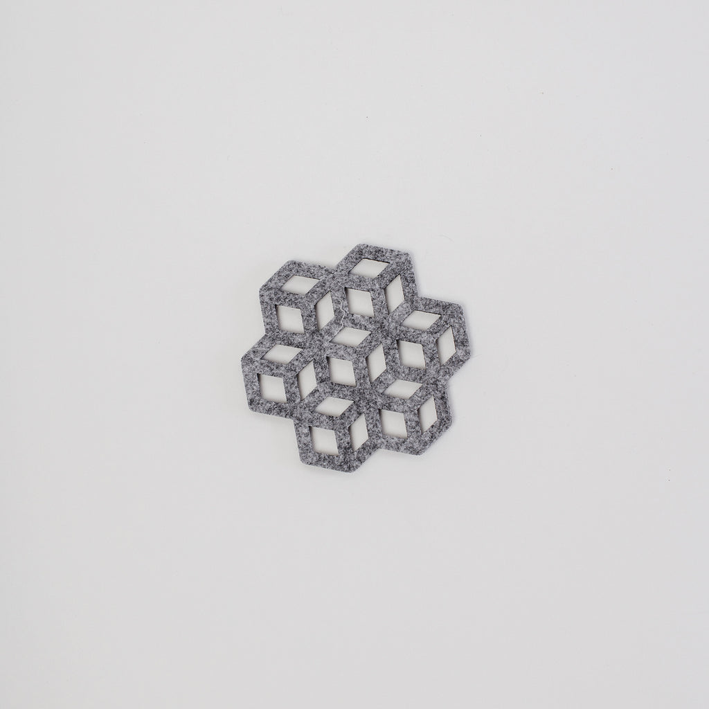 single laser cut grey coaster, designed and made in Dublin Ireland, exclusively for Irish Design Shop data-zoom=