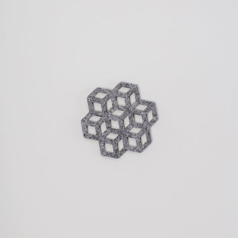 single laser cut grey coaster, designed and made in Dublin Ireland, exclusively for Irish Design Shop