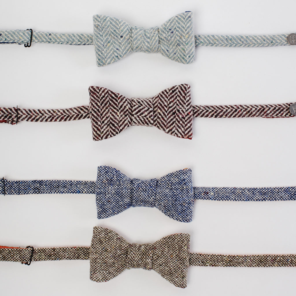 all four designs Donegal Tweed bow-ties data-zoom=