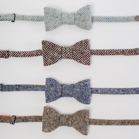 all four designs Donegal Tweed bow-ties