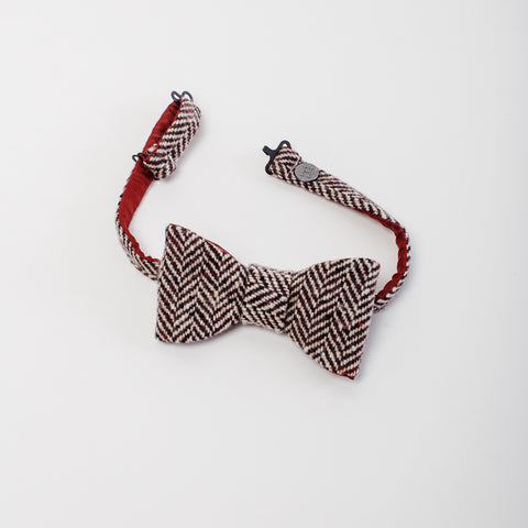 Wine Bow-tie, herringbone Donegal tweed with crimson lining