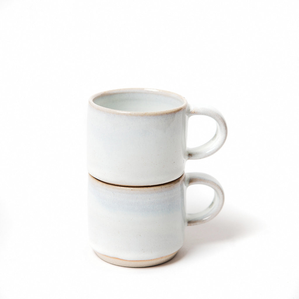 Irish pottery, minimalist design white stacking espresso cups in ceramic data-zoom=