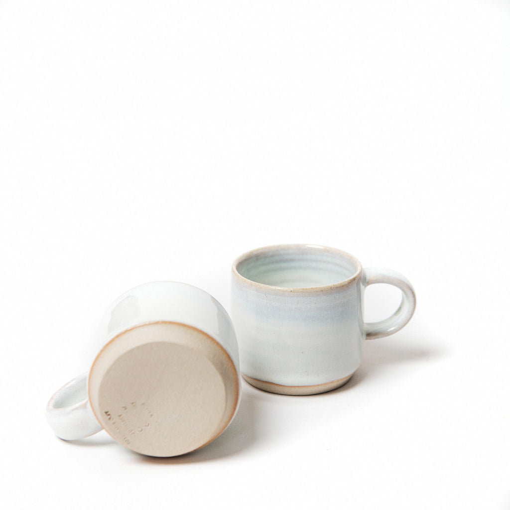 set of two handmade ceramic espresso cups, Rosemarie Durr stacking cups, scandinavian looking Irish pottery data-zoom=