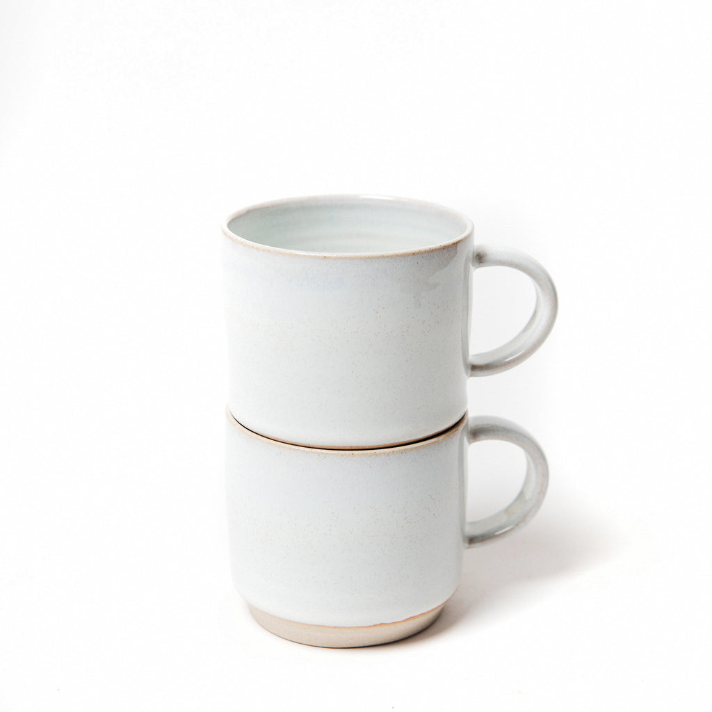 two stacking cups hand thrown in stoneware.  data-zoom=