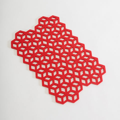 laser cut placemats, festive red tableware, contemporary Irish felt, geometric patterned placemats from Alljoy, Irish design, contemporary Irish craft