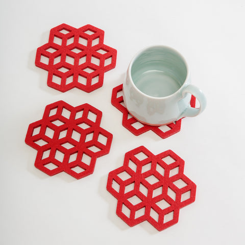 Festive felt coasters, red Irish felt. Lazer cut red coasters, Alljoy Irish contemporary craft