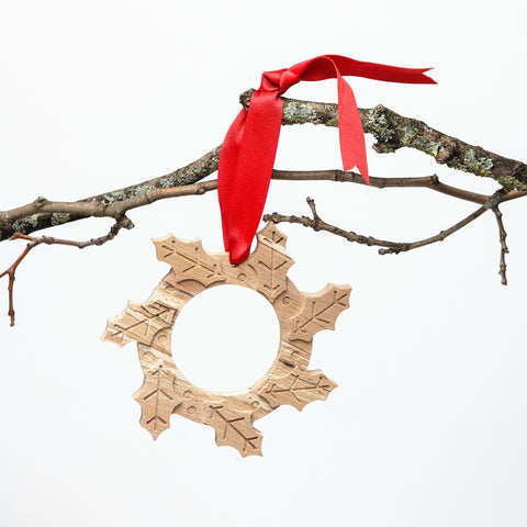 Miniature CNC cut wooden wreath, Irish craft and design stocking fillers with a difference, non-traditional festive traditions, contemporary christmas decoration keepsakes, Authentic Irish christmas, christmas wreaths made in Ireland