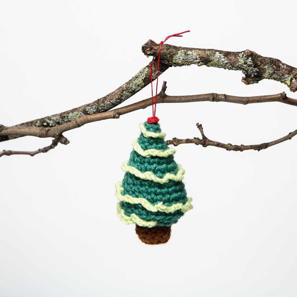 Wooly christmas tree decoration, child friendly, fun soft irish christmas ornaments, festive hand crocheted christmas tree, miniature christmas tree, cute Irish stocking fillers, light perfect for little hands data-zoom=