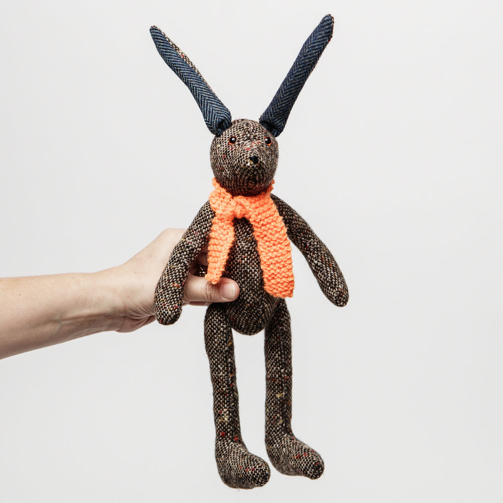 Irish tweed teddy, Tipperary Hare, Irish keepsakes for children, cute wool rabbit hare toy data-zoom=