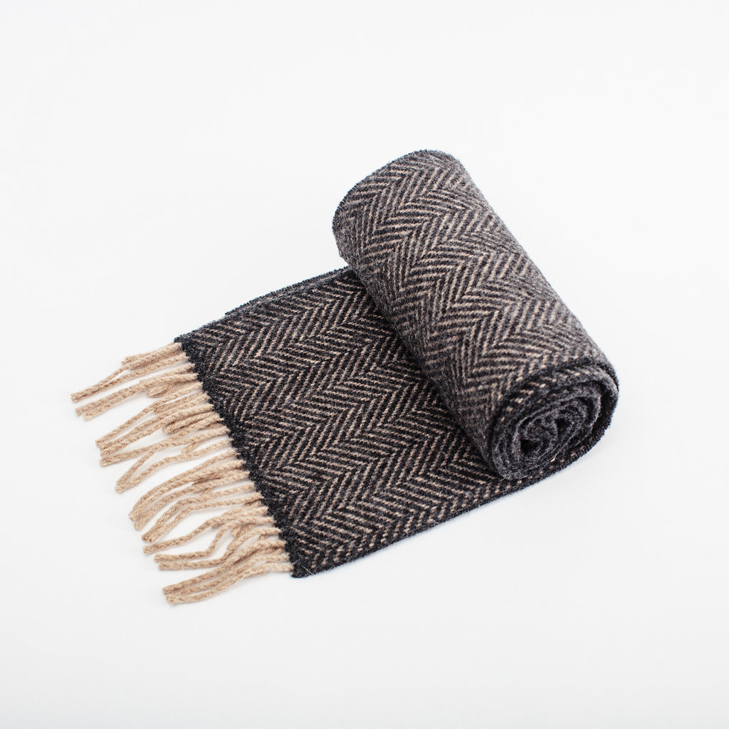 charcoal grey herringbone wool mix scarf by heritage weavers John Hanly unisex style data-zoom=