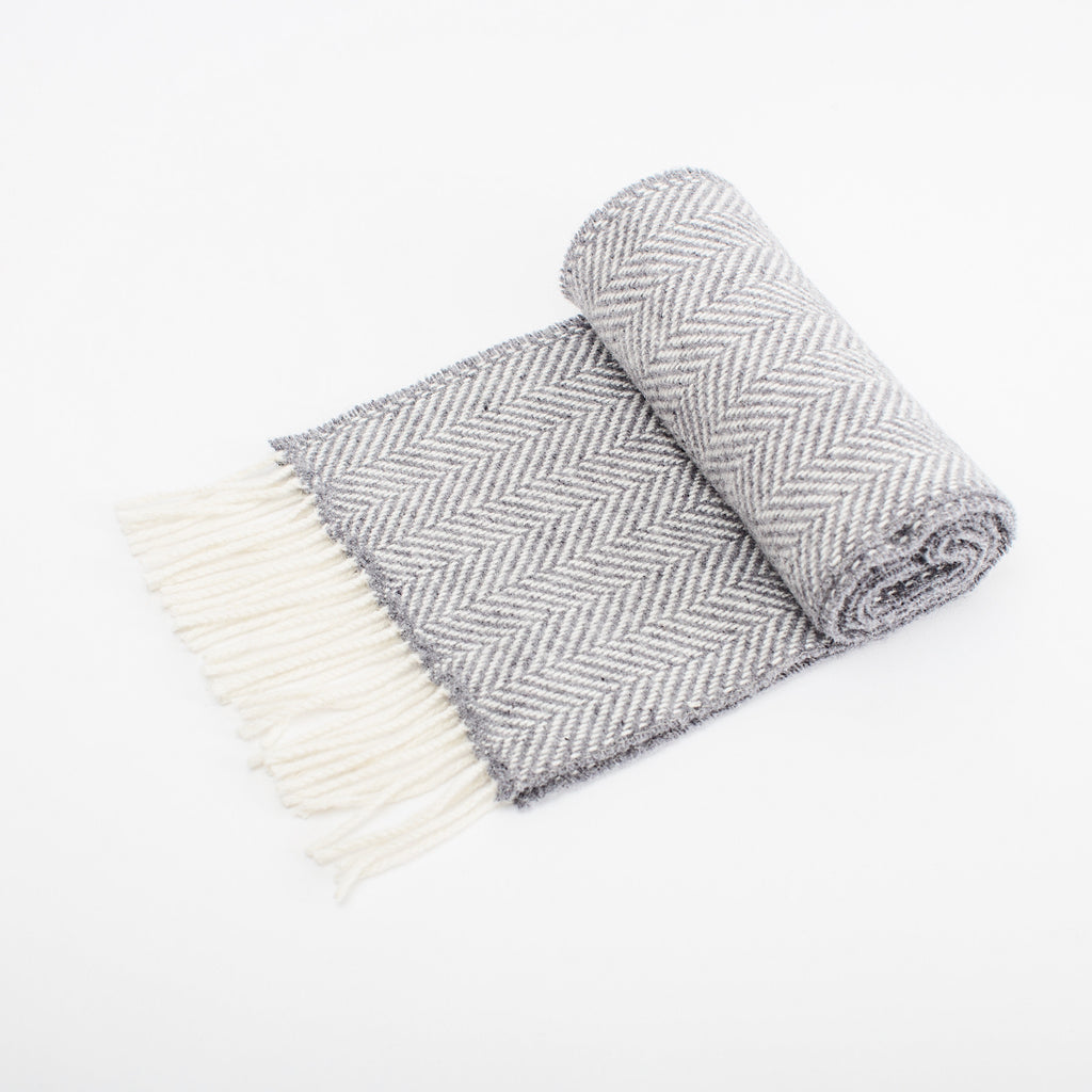 Merino cashmere wool unisex scarf in slate grey woven in Ireland  data-zoom=