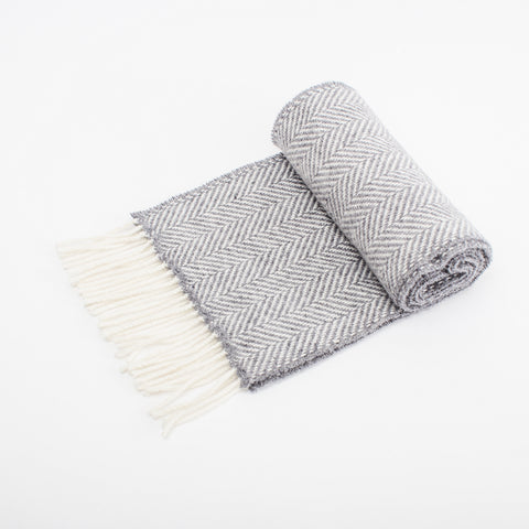 Merino cashmere wool unisex scarf in slate grey woven in Ireland