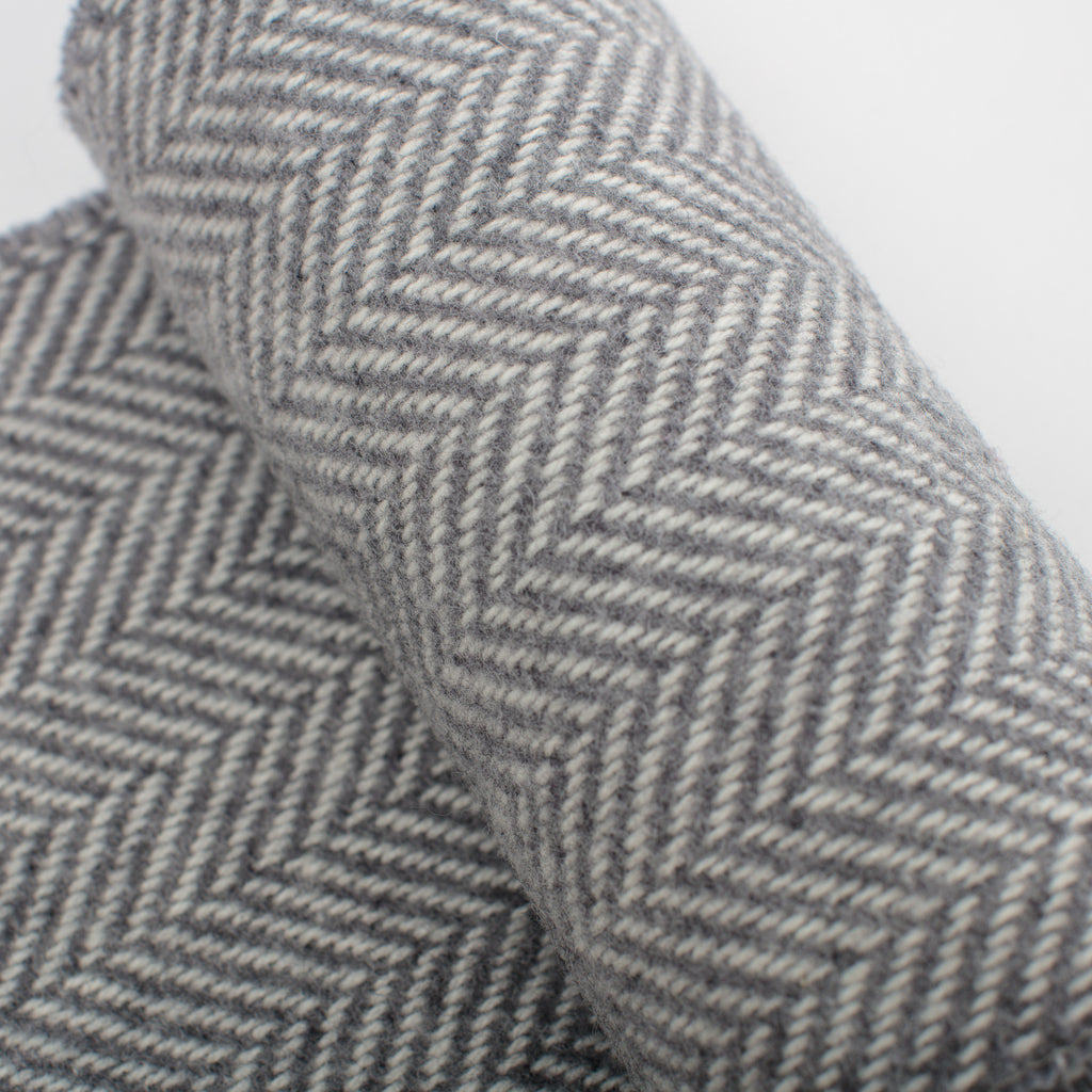 grey herringbone woven scarf ethically made by John Hanly in Tipperary, Ireland data-zoom=