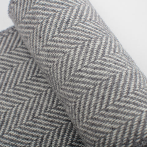 grey herringbone woven scarf ethically made by John Hanly in Tipperary, Ireland