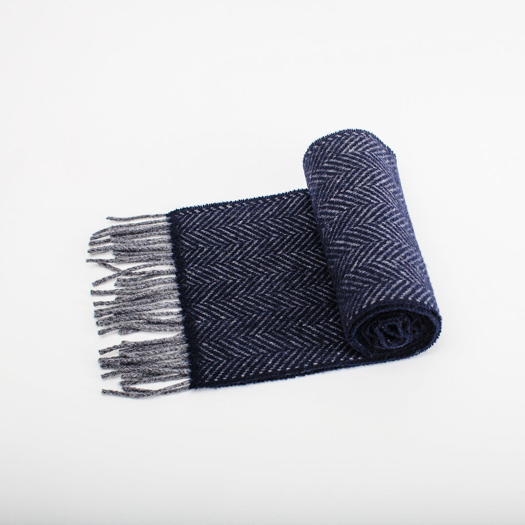 navy blue herringbone wool scarf made in Ireland by heritage weavers John Hanly  data-zoom=