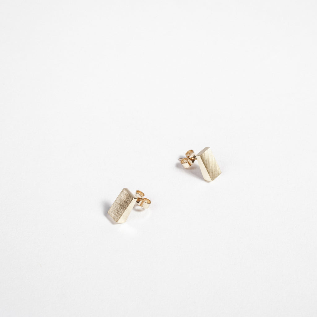 Gold small rectangular earrings, minimalist style, Irish gold earrings data-zoom=