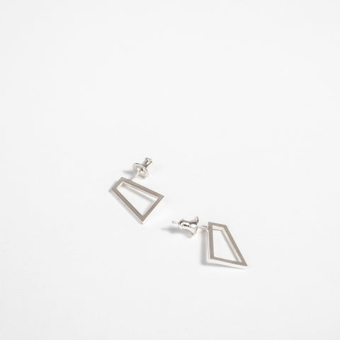 Angular stud earrings, Recycled silver jewellery, Simplistic stud earring design