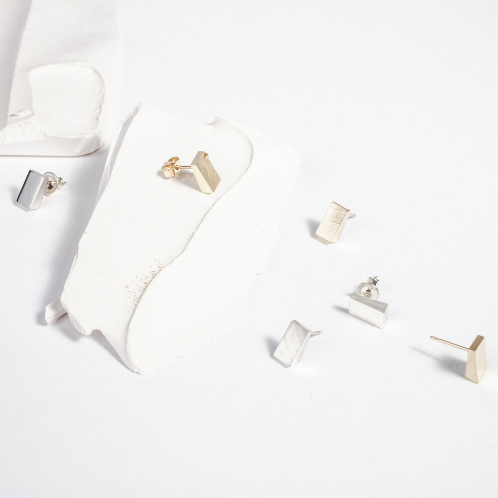 Geometric stud earrings, silver and gold angular jewellery made in in Ireland data-zoom=