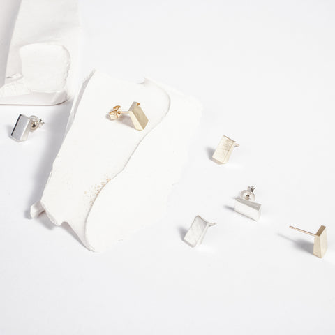 Geometric stud earrings, silver and gold angular jewellery made in in Ireland