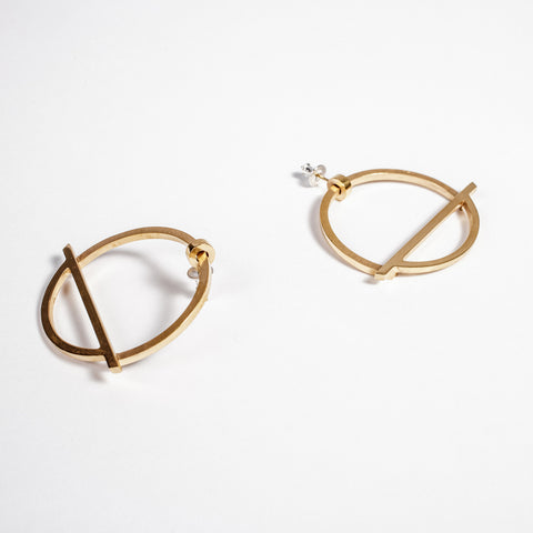 Statement gold hoop earrings, made in Ireland, handmade in Dublin, edgy jewellery